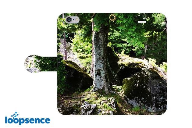 森と苔のアート/オリジナル手帳型スマホケース