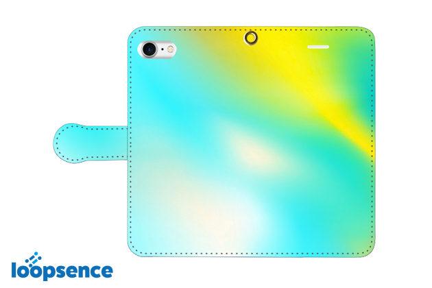 ループセンスオリジナル。【受注生産】Aurora Blue:オーロラブルー/オリジナル手帳型スマホケース全体デザイン