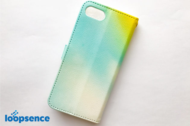 ループセンスオリジナル。【受注生産】Aurora Blue:オーロラブルー/オリジナル手帳型スマホケース裏面デザイン