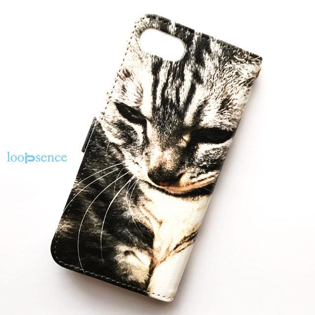 ループセンスオリジナルiPhoneケース【受注生産】猫フォトデザイン。オリジナル手帳型スマホケースNo.26
