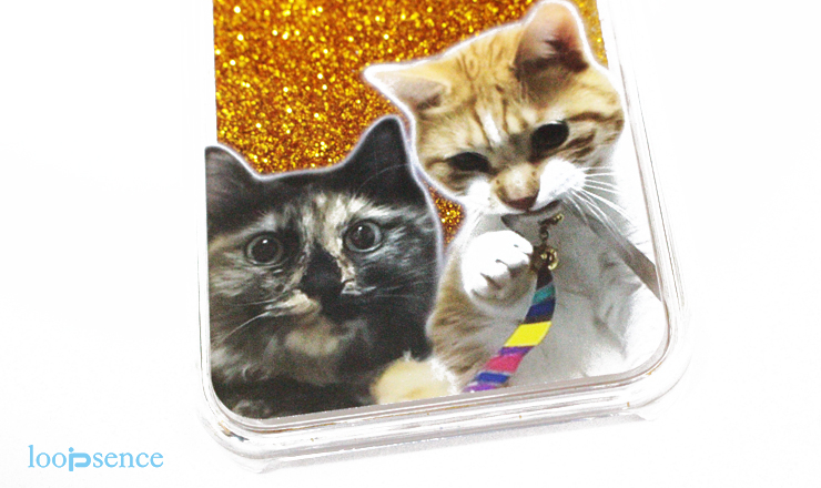 ループセンス猫のオーダーグリッターケース作品